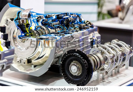 Opened switch gear of a modern car - stock photo