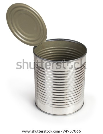 Opened tin Isolated on white. - stock photo