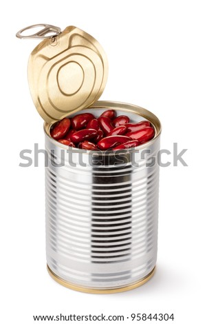 Opened tin with red beans. Isolated on a white. - stock photo