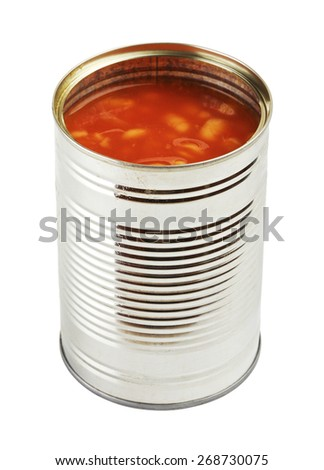opened tincan with beans in tomato sauce, isolated on white - stock photo