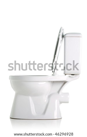 opened toilet, side view, isolated on white - stock photo