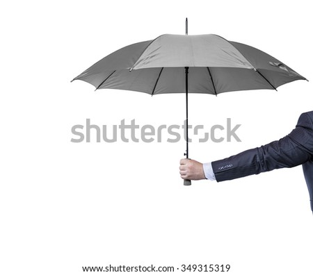 Opened umbrella in hand, isolated on white.