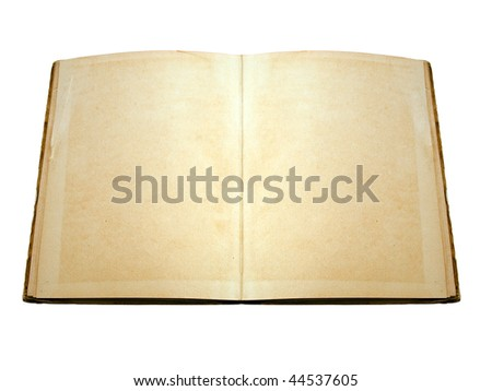 Opened vintage book with blank pages, isolated on white