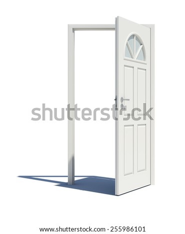 Opened white door with shadow. Isoted on white background