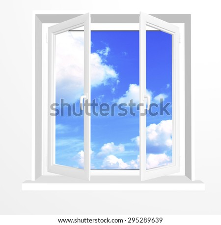 Opened window and clouds on blue sky. Isolated on white background - stock photo