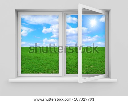 Opened Window with Beautiful Landscape Behind