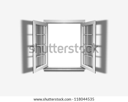 Opened window with empty space in the middle - stock photo