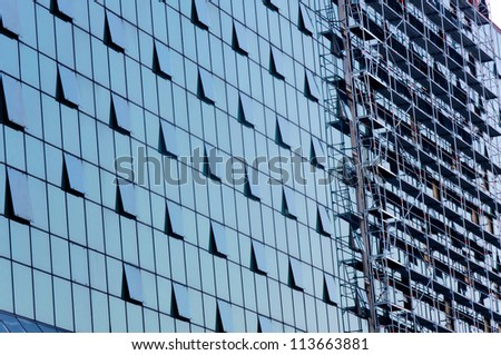 Opened windows on the financial building