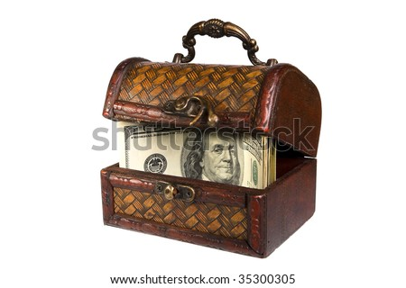 opened wooden casket with money isolated on the white background - stock photo