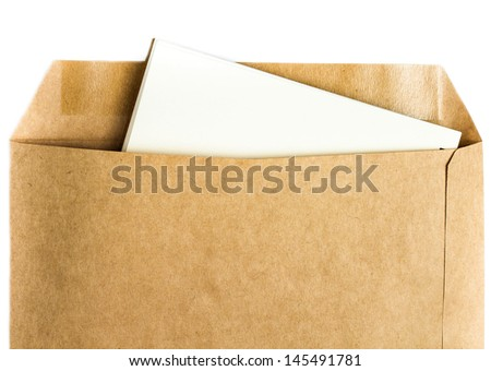 Opened yellow  Recycled craft  envelope with paper letter inside on white background, closeup