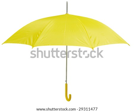 Opened yellow umbrella isolated on white