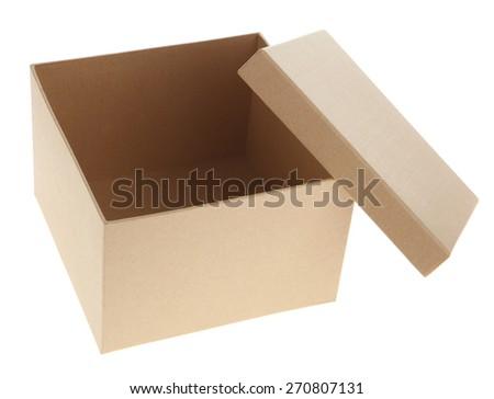 opening a cardboard box - stock photo