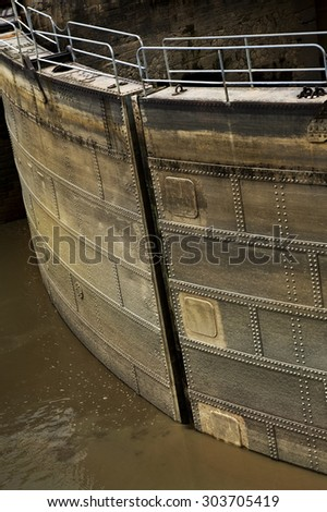 Opening a sluice in the port of Bordeaux, France - stock photo