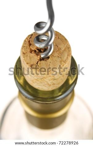 Opening bottles of wine isolated on white background - stock photo