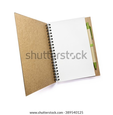 opening Brown Blank notebook and pen isolated on white background. - stock photo