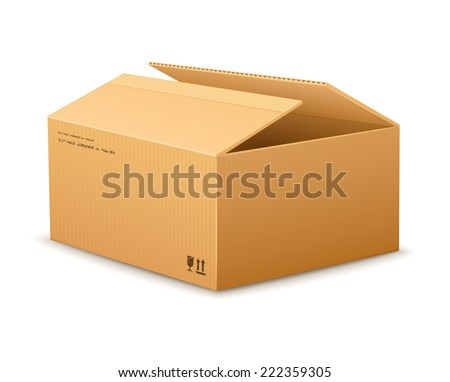 opening cardboard delivery packaging box . Rasterized illustration. - stock photo