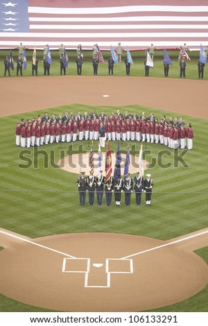 Opening Day Ceremonies featuring military color guard, boys choir and gigantic American Flag on March 31, 2008, Citizen Bank Park - stock photo