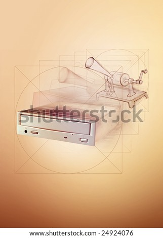 opening dvd recorder with disc - stock photo