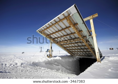 Opening for vehicles at Antarctic research station - stock photo