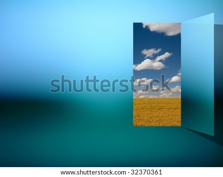 Opening into field and sky - stock photo