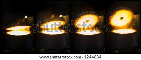 Opening Iron Furnace Montage - stock photo