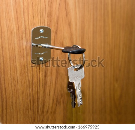 Opening of doors by means of a bunch of keys - stock photo