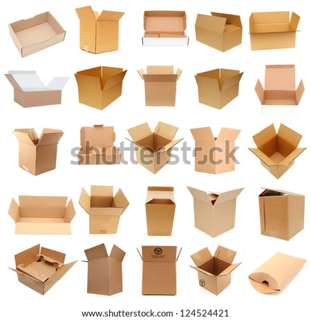 Opening of shipment carton boxes - stock photo
