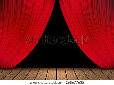 opening red curtain and wood stage background. - stock photo