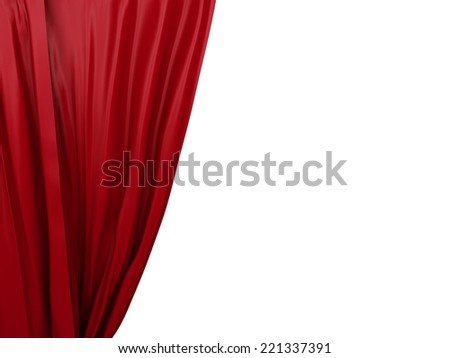 opening red curtain. Place for text on white background - stock photo