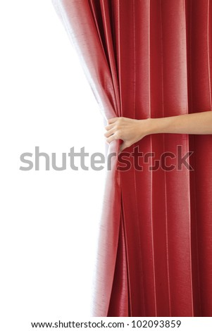 Opening the curtain and hand - stock photo