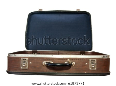 Opening vintage suit-case Isolated with clipping path - stock photo