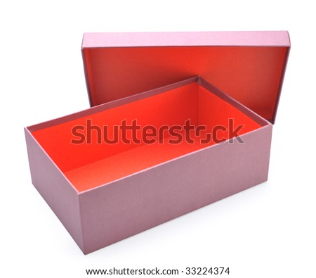Opens red shoes box - stock photo