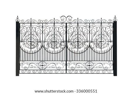Openwork gate. Isolated over white background. - stock photo