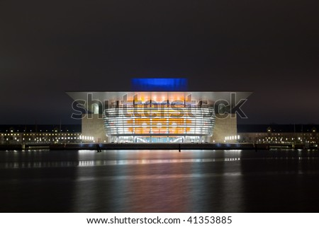 Opera house and the river at night - stock photo