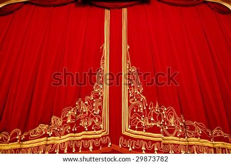 Opera House Interior - Curtain Closeup - stock photo