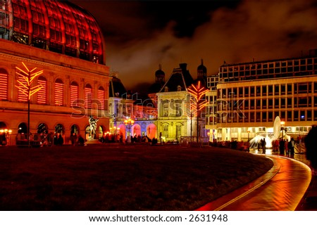 Opera, new and old Town hall, during Lyon light fest in december. - stock photo