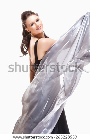 Opera Singer Performing in her Stage Dress - Isolated on White  - stock photo