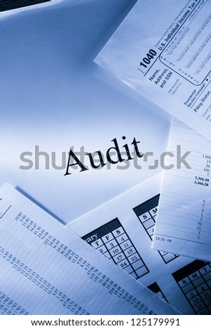 Operating budget, calendar and audit - stock photo