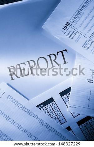 Operating budget, calendar and report - stock photo