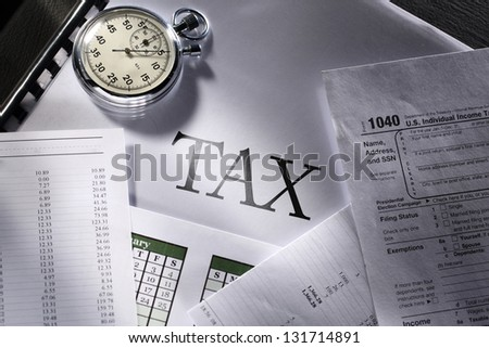 Operating budget, calendar, stopwatch and tax