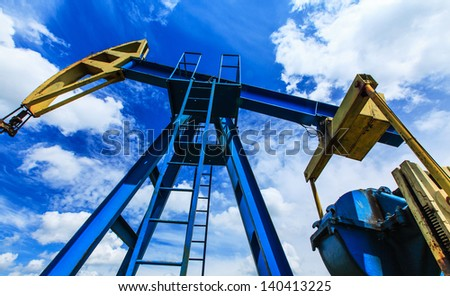 Operating oil and gas well detail - stock photo