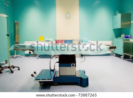 Operating room ready for operation with clock behind operating table
