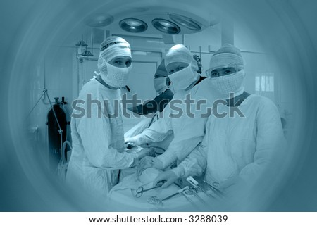Operation in a process. Shot in a hospital. - stock photo