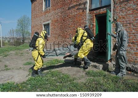 operation of chemical protection Emergency, evacuation of injured - stock photo