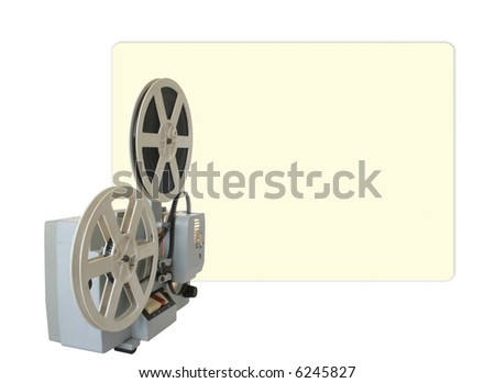 Operational cinema projector with projection on the wall. Isolated.