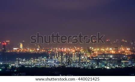 Operational petrochemical plant in twilight