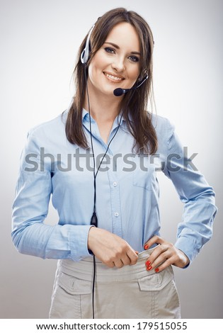 Operator call center. Customer service woman. Isolated. - stock photo