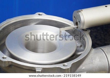 operator inspection turbo surface roughness by roughness tester_002 - stock photo