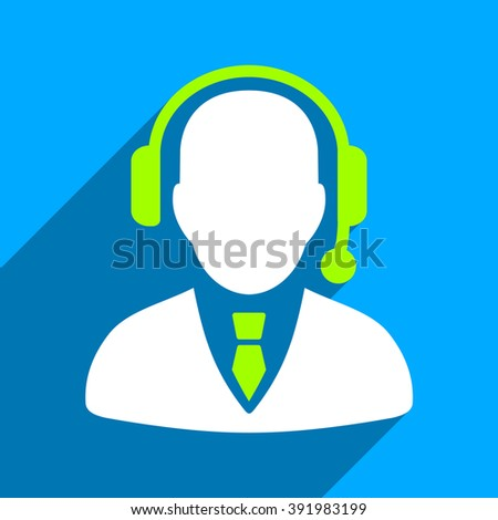 Operator long shadow glyph icon. Style is a flat operator iconic symbol on a blue square background. - stock photo