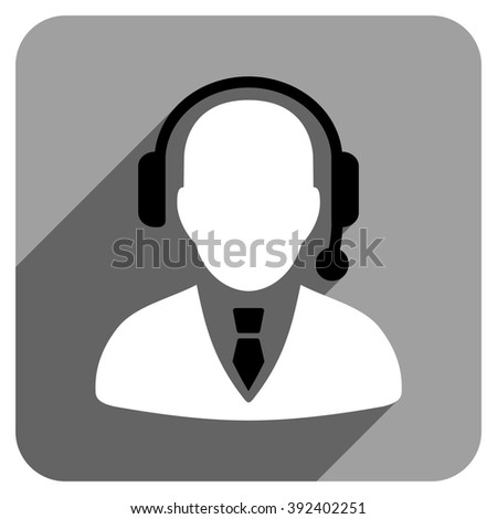 Operator long shadow glyph icon. Style is a flat operator iconic symbol on a gray square background. - stock photo